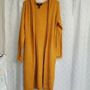 Forever 21 hooded duster Pockets size small gold f